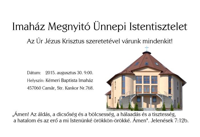 kemeri baptista imahaz megnyito unnepi Istentisztelet